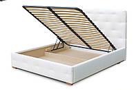 Кровать Престиж 160х200 двуспальная кожаная с мягким изголовьем  и ламелями