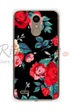 Силиконовый чехол бампер для LG K10 2017 / M250  с картинкой Цветы на черном фоне