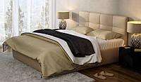 Кровать Милея 140х200 двуспальная кожаная с мягким изголовьем и подъемным механизмом