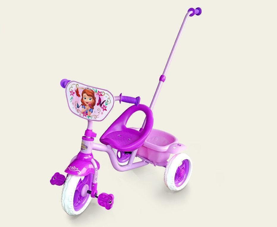 Трехколесный велосипед (SFT0101) розовый, с ручкой