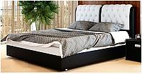Кровать Скарлет 180х200 двуспальная кожаная с мягким изголовьем и подъемным механизмом
