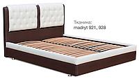 Кровать Скарлет 140х200 двуспальная кожаная с мягким изголовьем и подъемным механизмом