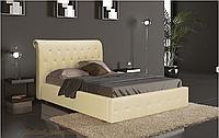 Кровать Фрида 140х200 двуспальная кожаная с мягким изголовьем