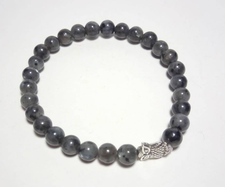 Браслет тонкий из Лабрадора Совушка, натуральный камень, тм Satori \ Sb - 0104-1