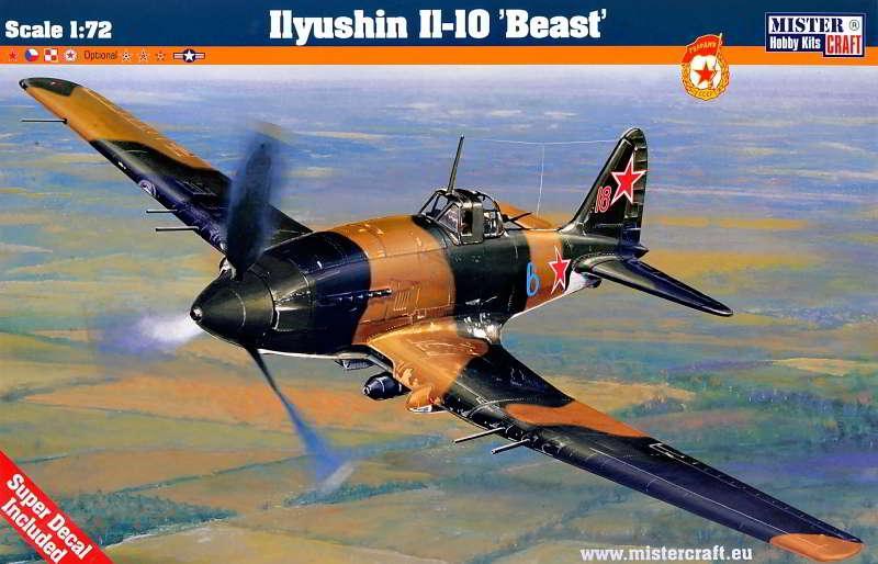 """Сборная модель советского военного самолета  Ильюшин Ил-10 """"Beast"""". 1/72 MISTER CRAFT D-223"""