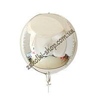 Фольгированные воздушные шары, форма: Сфера 3D, цвет: серебро, 18 дюймов/48 см, 1 штука