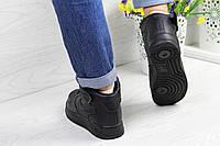 Кеды высокие женские Nike Air Force Black / White Черный, 38