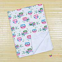 Непромокаемая двусторонняя пеленка 60x80 тм «Omali» (фланель совы)