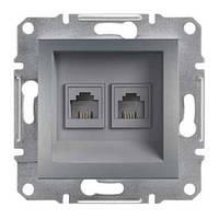 Розетка 2-ная компьютерная сталь RJ45+т/ф RJ11  schneider asfora EPH4900162