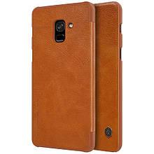 Чехол книжка Nillkin Qin Series для  Samsung Galaxy A8 2018 коричневый