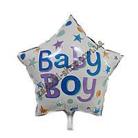 """Фольгированные воздушные шары, форма:звезда, ко дню рождения мальчика """"Baby Boy"""", размер: 18 дюймов/45 см, 1 ш"""