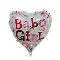"""Фольгированные воздушные шары, форма:сердце, ко дню рождения девочки """"Baby Girl"""", размер: 18 дюймов/45 см, 1 ш"""