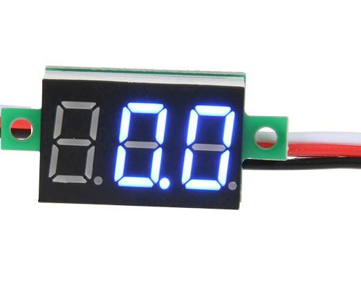 Міні вольтметр цифровий DC 0 - 100В синій дисплей