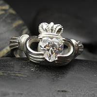 Серебряное кольцо с кубическим цирконием в форме сердца