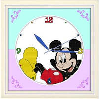 Часы. Микки Маус Набор для вышивания крестом с печатью на ткани c механизмом 11ст
