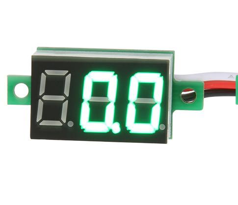 Міні вольтметр цифровий DC 0 - 100В зелений дисплей