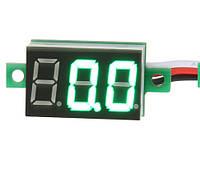 Мини вольтметр цифровой DC 0 - 100В  зеленый дисплей