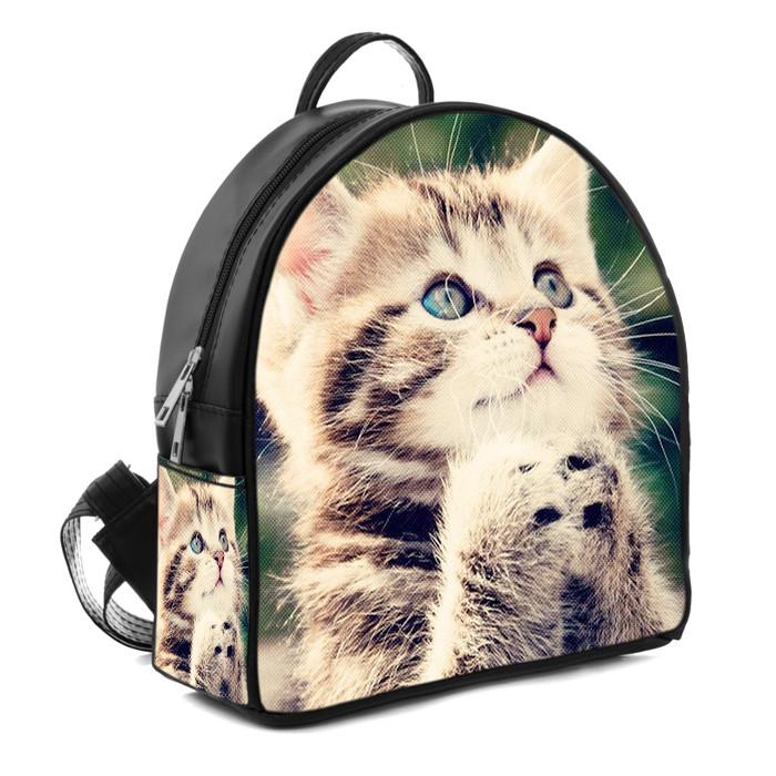 Черный городской рюкзак с принтом Котёнок, цена 330 грн., купить в ... 08c900091a3