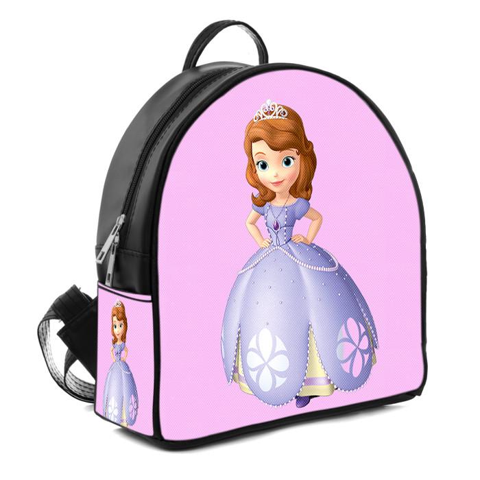 Черный рюкзак для девочки с принтом Принцесса София