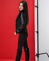 Демисезонная женская куртка чёрная экокожа