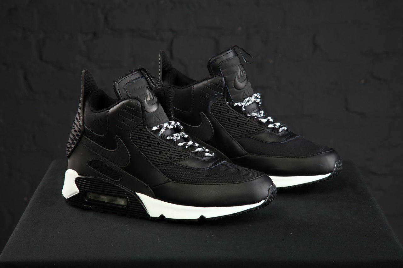 2c5fbfee Зимние высокие кроссовки молодежные Nike air max 90 winter sneakerboot  Black/White(реплика)