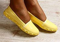 Балетки женские кожаные желтые с лаковым носиком