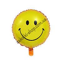 Фольгированные воздушные шары, форма:круг, Смайлик, расцветка: желтый, 18 дюймов/45 см, 1 штука