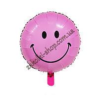 Фольгированные воздушные шары, форма:круг, Смайлик, расцветка: малиновый, 18 дюймов/45 см, 1 штука