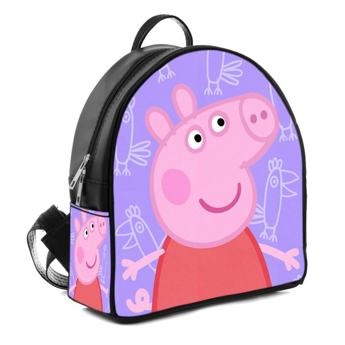 Черный рюкзак для девочки с принтом Свинка Пеппа