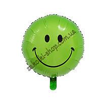 Фольгированные воздушные шары, форма:круг, Смайлик, расцветка: зеленый, 18 дюймов/45 см, 1 штука
