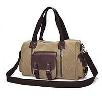 Дорожно-спортивная сумка из ткани. Песочная