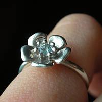 Серебряное кольцо с аквамарином отличный подарок
