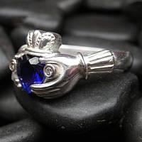 Серебряное кольцо с бриллиантовым сапфиром