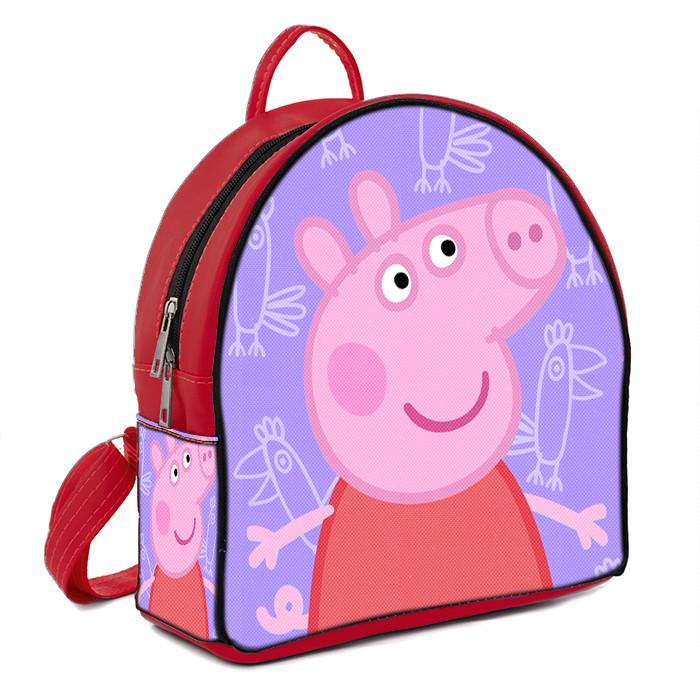 Красный рюкзак для девочки с принтом Свинка Пеппа