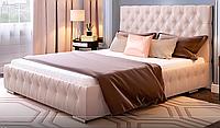 Кровать Арабель 160х200 двуспальная кожаная с мягким изголовьем  и подъемным механизмом