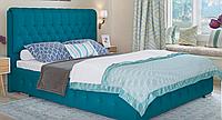 Кровать Беатрис 140х200 двуспальная кожаная с мягким изголовьем  и ламелями