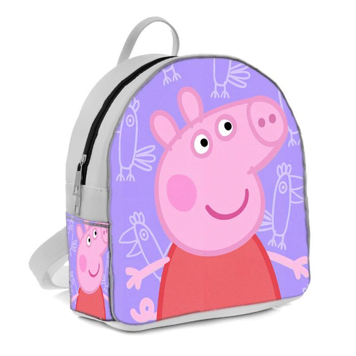 Белый рюкзак для девочки с принтом Свинка Пеппа