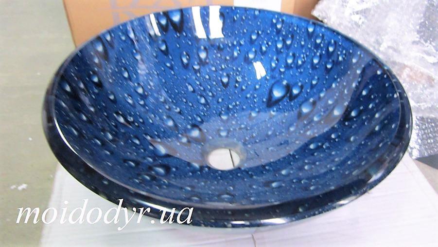 Раковина эксклюзивная, умывальник накладной стеклянный круглый 420 мм (HR 84875) (капли воды)