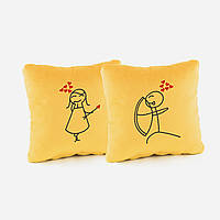 Набор подушек для влюбленных «Стрельба из лука»  желтый флок_склад