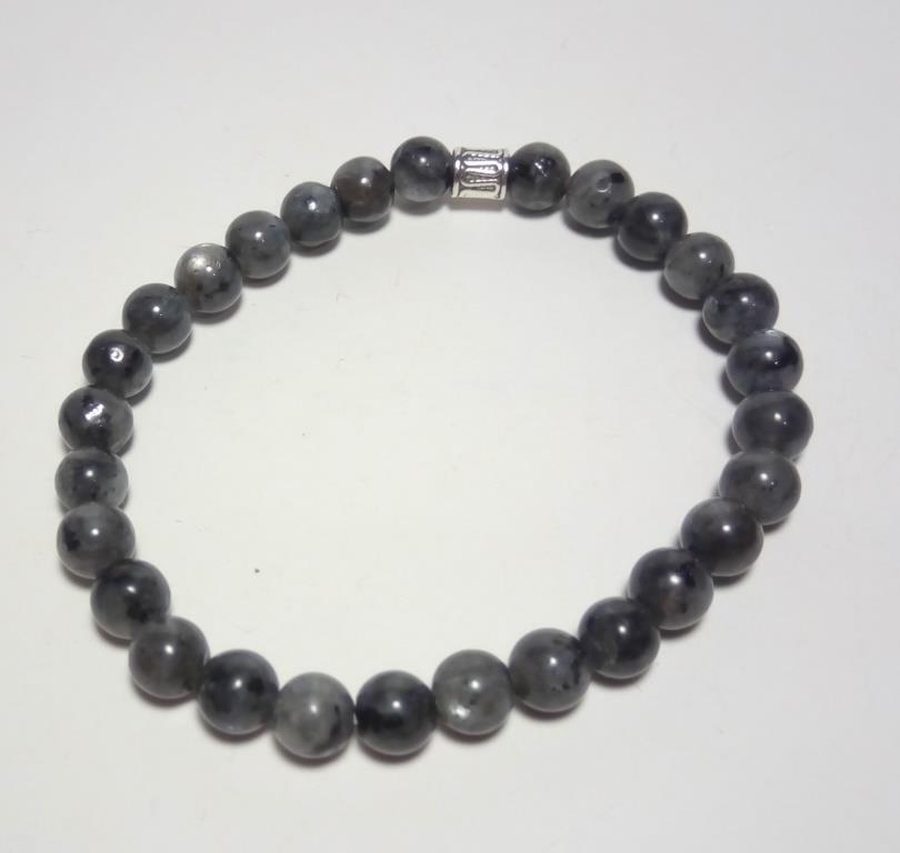 Браслет тонкий Лабрадор, натуральный камень, цвет серый и его оттенки, тм Satori \ Sb - 0106