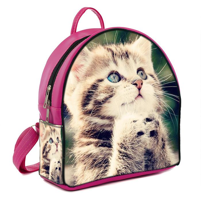 Розовый городской рюкзак с принтом Котёнок