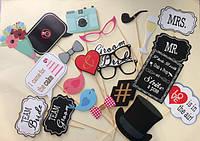 """Набор фотобутафории """" Свадебный"""" из 22 предметов, аксессуары для фотосессии"""