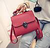 Женская маленькая сумочка на металлической заклепке красная из экокожи опт