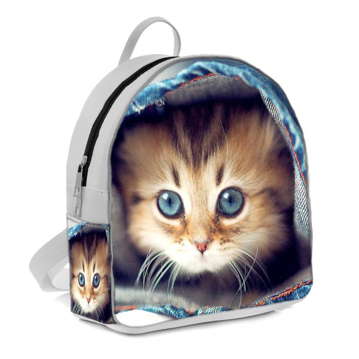 Белый городской рюкзак с принтом  Кот