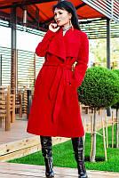 """Женское модное пальто """"Барселона"""" насыщенно красного цвета 42-60 рр"""
