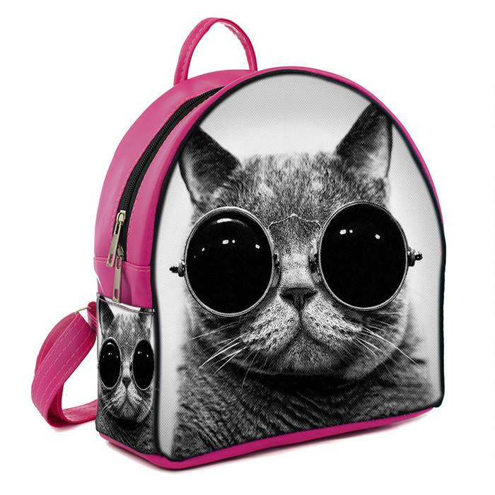 Городской женский рюкзак с принтом Кот в очках  цена, продажа, фото ... 791fd28302e