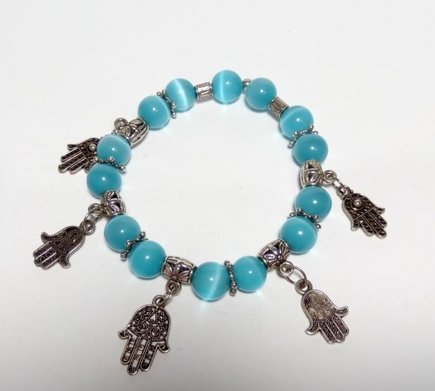Браслет из Кошачьего глаза, натуральный камень, цвет голубой и его оттенки, тм Satori \ Sb - 0110