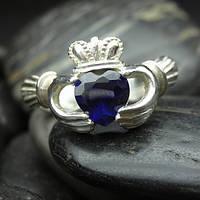 Кольцо с сапфиром в форме сердца серебро 925 проба