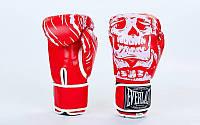 Перчатки боксерские FLEX на липучке ELAST SKULL (р-р 8-12oz, красный)