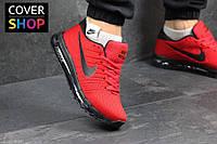 Кроссовки мужские Nike Flyknit Air Max, красные, материал - текстиль, подошва - пенка